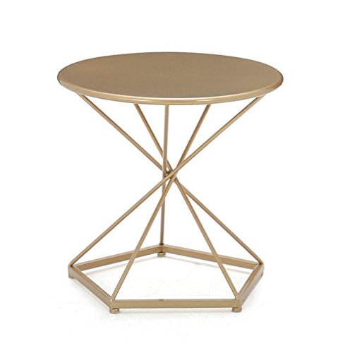 Lightyears Sofa Table, Table Basse Table Ronde Salon Table d'appoint Table de Chevet Décoration Table Basse Table de négociation 50 * 50 * 48cm (Couleur : Or)