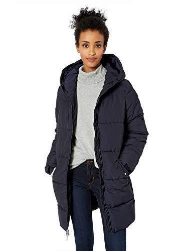 Amazon Brand - Daily Ritual Women's Long Water-Resistant Primaloft Puffer Jacket, navy, X-Small