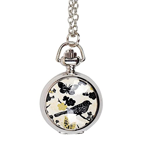 Yililay Mujeres Bolsillo analógico Bolsillo Reloj de Bolsillo Lindo Magpie patrón Collar Colgante Bolsillo Reloj Plata Vintage Collar Collar Reloj de Bolsillo s