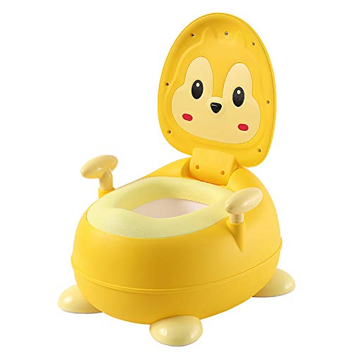 AJAMQ Orinales Infantiles 3 En 1 con Tapa, Orinal Water Infantil con Asiento Acolchado Y Protector contra Salpicaduras, Inodoro para Bebés,Amarillo
