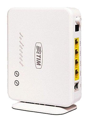 Telecom Italia 768762 Modem ADSL2+, Wi-Fi, 1 Porta ADSL, 1 Interfaccia Wi-Fi 802.11 b/g/n, 4 Porte Ethernet, [Italia], Bianco