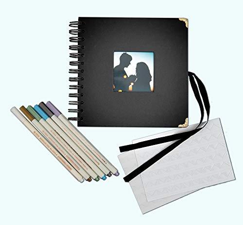 Generisch Fotoalbum Spiralbuch 17,5x17,5 schwarz, 6 Metallicstifte, durchsichtige Fotoecken