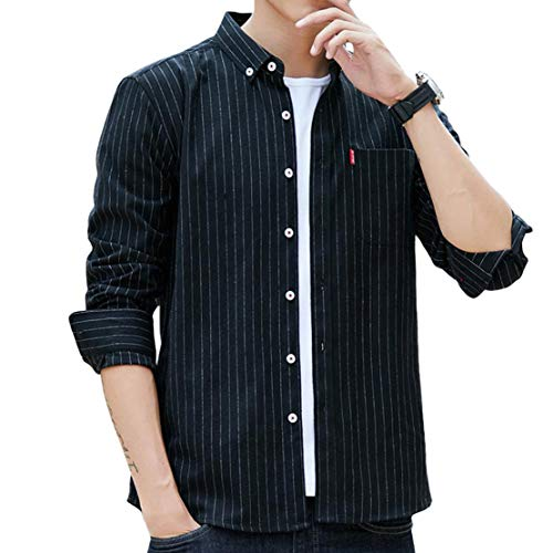 ODFMCE シャツ メンズ 長袖 オシャレ ストライプ ビジネス カジュアル 大きいサイズ (ブラック, XXXL)