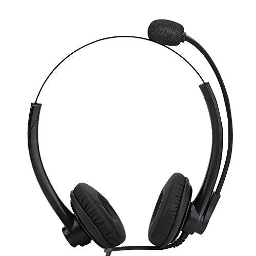 Telefoonhoofdtelefoon met professionele ruisonderdrukkende microfoon en gehoorbescherming en breedband HD-luidsprekers, zacht kunstleer, on-ear hoofdtelefoon voor callcenter, bureautelefoon