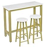 WOLTU Set Mesa de Bar y 2 uds. Taburete de Bar Muebles Cocina Silla de Comedor para Salon Cocina Mesa 120x40x100 cm Estructura de Metal, MDF Oro+Blanco BT17gdws+BH130gdws-2