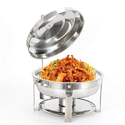 OUKANING Chauffe-Plat Rond,Chafing Dish 7.5 L en Acier Inoxydable avec réservoir de Maintien au Chaud Buffet Rond en Acier Inoxydabl