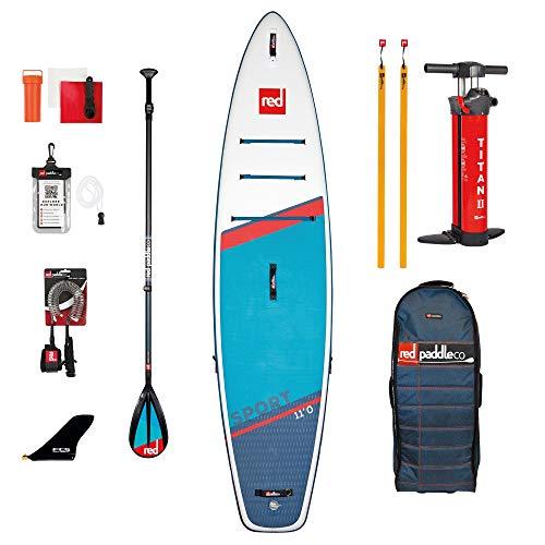 Red Paddle 11'0″ Sport + Carbon 50 Nylon Tabla Sup Y Paddle, Adultos Unisex, Multicolor, Uni