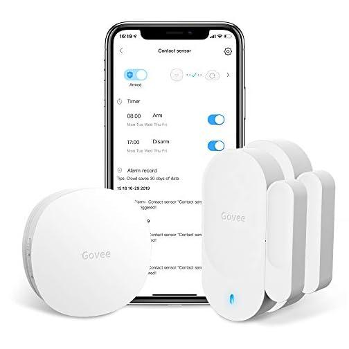 Govee WiFi Door Sensor, Smart Door Motion Sensor Works with Amazon Alexa APP Control, 2 Door Open Alarm and 1 Wi-Fi… 3