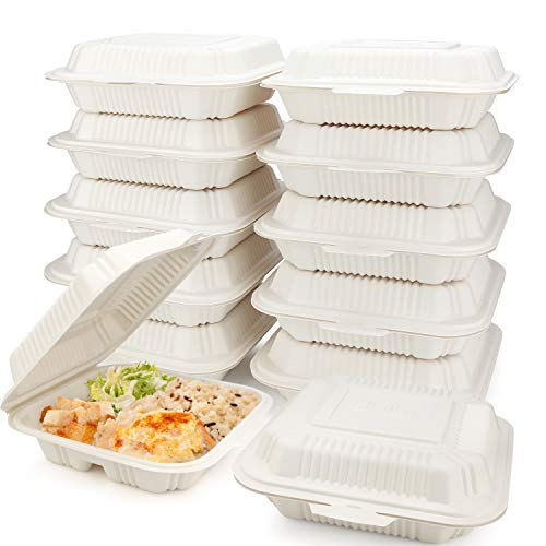 HeloGreen [100 Count] Eco Friendly Take Out Food Containers [8'x8',3-Compartment] - Non Soggy, Leak Proof, Heavy-Duty Quality, Disposable To Go Containers for Food, Cornstarch, Microwave Safe