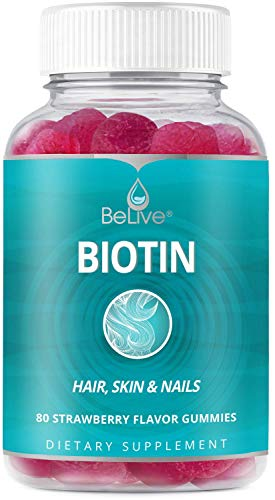 Biotin Gummies 10,000mcg Highest Potency, Hair Growth, Supports Healthier Hair, Skin and Nail, Vegan, Pectin Based, Strawberry Flavor, 80 Count
