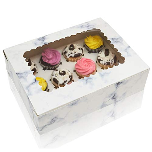Cupcake Boxes With Window Display Cup Cake Inserts For Cupcakes Glossy Marble Design Thick Sturdy Cupcake Box 12 Boxes Total
