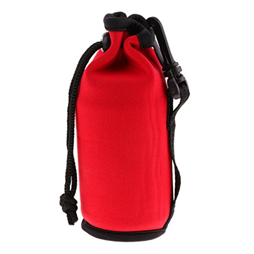 D DOLITY Sac en Néoprène Isolé Bouteille de Sport Couverture de Bidon Pochette Portable Feremture à Cordon - Rouge, 500 ML