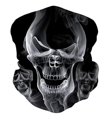 ALISISTER Schwarz Schädel Multifunktionstuch Nahtloses Halstuch Schlauchtuch Schal 3D Druck Kopftuch Stirnband Motorrad Outdoor Halbes Bandana