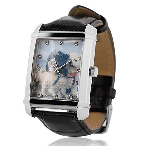 Personalisierte Benutzerdefinierte Foto/Text-Uhr, Edelstahl Schwarz Lederband Quarzuhren für Männer, Frauen