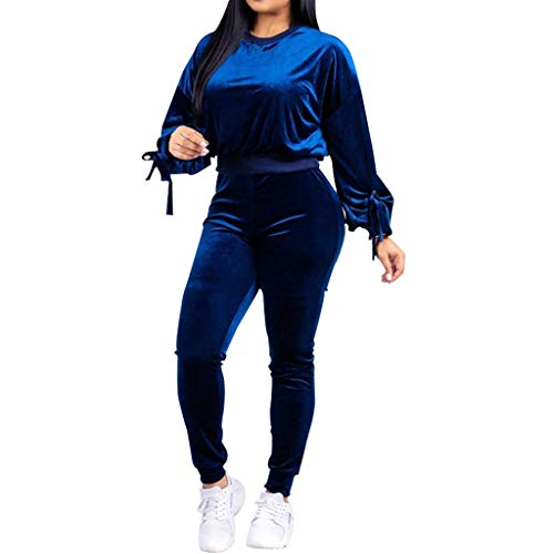 Zainafacai Women's Solid Velour Sweatsuit Set Hoodie and...
