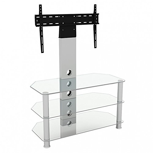 """Mahara Upright Cantilever TV Stand with Bracket Clear Glass Shelves 90cm from 32"""" - 60"""" inch for HD Plasma LCD LED OLED Curved TV"""