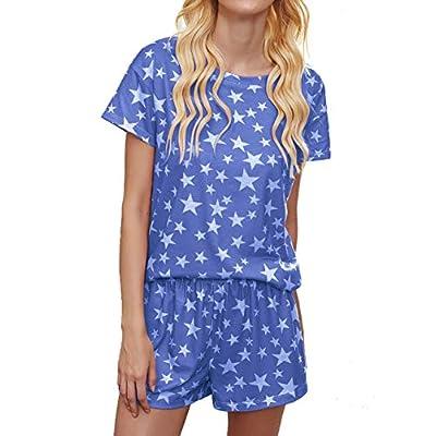 Amazon - Save 60%: Women Tie Dye Printed Pajamas Sets Short Sleeve Lounge Set Sleepwear 2 Pi…