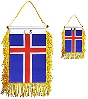 Best GentleGirl.USA 2 Pack Iceland Car flag , Small Mini Icelanders Window Hanging Banner stick flag, International Festival Party Parade Car Home Decoration Review