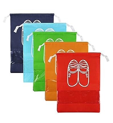 LZYMSZ Zapatos de Viaje Bolsa de Acabado Bolsa a Prueba de Polvo Zapatos Bolsa de Almacenamiento Bundle Bolsas de Organizador de Bolsillo Ventana Transparente para Botas, TAC¨®n Alto (5PCS-M)