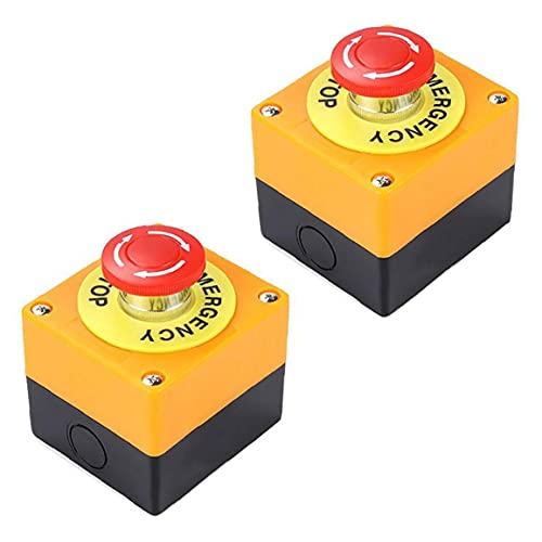 Berrywho Botón de Parada de Emergencia 22 mm Signo Rojo Mushroom Switch de Empuje AC 660V 10A Auto Bloqueo de la estación de Parada 2pcs