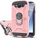 S3 Case Galaxy S3 Phone Case with HD Screen Protector YmhxcY 360 Degree Rotating Ring Kickstand Holder Dual Layers of Shockproof Phone Case for Galaxy S3 S III I9300 GS3 All Carriers-ZS Rose Gold