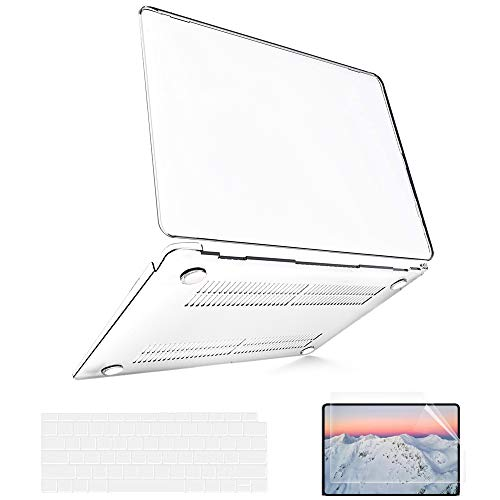 MacBook Air 13 inch Case 2020 2019 2018 Release A2337 M1 A2179 A1932 (Touch ID), MacBook Air 2020 Case Clear Plastic Laptop Hard Shell + 2 Keyboard Covers + 1 Screen Protector + 1 TouchPad Protector