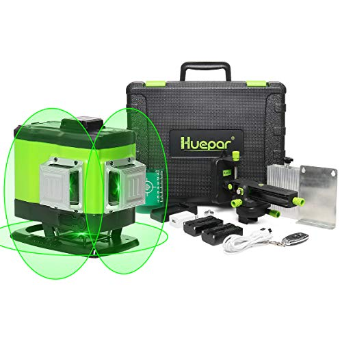 Huepar 3D Self-leveling Laser Level 3x360 Green Beam Cross Line Three-Plane Leveling, Alignment and Tiling Floor Laser Tool -360° Vertical and Horizontal Line with Remote Control&Hard Carry Case 503DG