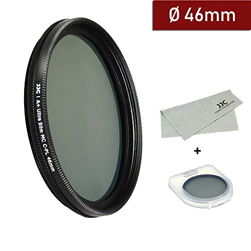 46mm Circular Polarizer Filter Ultra Slim 12 Layers Multi Coated CPL Filter for Canon Nikon Sony DSLR Camera Lenses Includes Carry Case