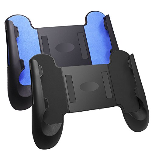 "AFUNTA 2 Pcs Game Clutch Universal Grip for 4""- 6"" Smartphone, Adjustable Mobile Phone Controller Gaming Grip with Stand, Plastic - Black, Blue"