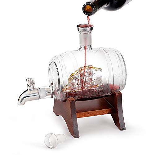 HYDT Whiskey Decanters, Wine Barrel Shaped Whiskey Glass Bottle, with Faucet for Tequila Bourbon Scotch Rum Alcohol Related Gifts for Dad