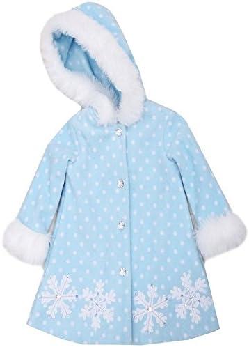 Bonnie Jean Little Girls Fleece Snowflake Faux Fur Hooded Coat, Blue, 24M