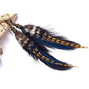 ETHNICFEATHER – Mahala-Ohrringe aus blauen und schwarzen Grizzlyfedern