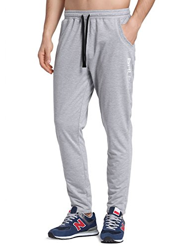BALEAF Men's Tapered Athletic Running Pants Sports Joggers Lounge Workout Sweatpants with Pockets Light Gray Size M