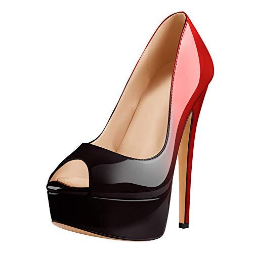 Only maker Damen Peeptoes Plateau Pumps Elegante Stiletto High Heels Lack Optik Schwarz Rot Gradient EU 43