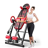 Popsport Premium Foldable Gravity Inversion Table Waist Inflatable Adjustment with Protective Belt Back