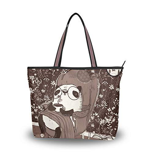 Bolso de mano, bolso de compras para mujeres, niñas, señoras, estudiantes, pandas en sillón, bolsos de hombro marrones, bolsos con correa liviana