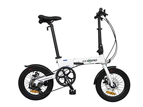ECOSMO 16AF01W - Bicicletta da Città Pieghevole, in Lega Leggera, 6 SP, Doppio Freno a Disco
