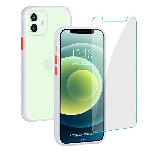 JASBON Hülle für iPhone 12/12 Pro,Matte Liquid Silicone iPhone 12 Hülle, Anti-Shock und Fingerprint Gel iPhone 12 pro Hülle 6.1 inch - White