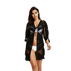 Jeasona Women's Bathing Suit Kimono Beach Cover Up Lace Crochet Pool Swimwear