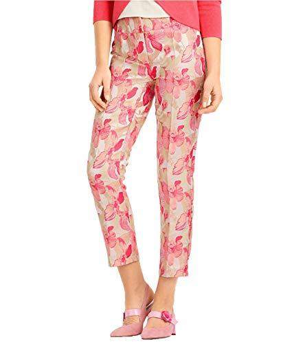 Ashley Brooke Hose Jacquard-Hose edel Schimmernde Damen 7/8-Hose mit Blumen Freizeit-Hose Stoff-Hose Weiß/Rosa, Größe:38
