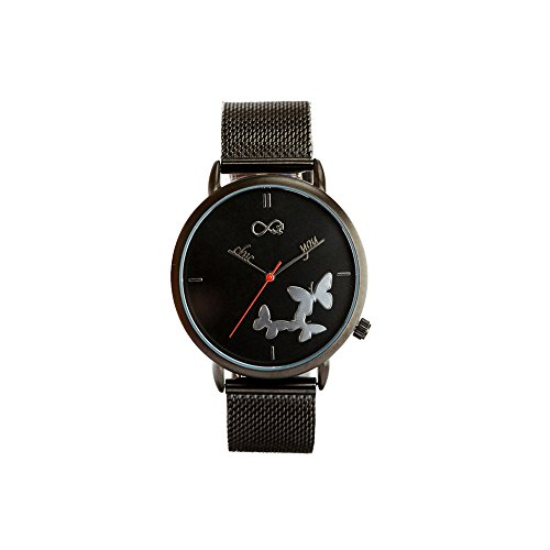 Reloj de Mujer Absolute Black by Chic You: Correa de Malla milanesa de Acero Inoxidable, con Esfera Fondo Negro, manecillas Personalizadas Mod. Chic You y Mariposas e índices en Relieve Efecto Espejo