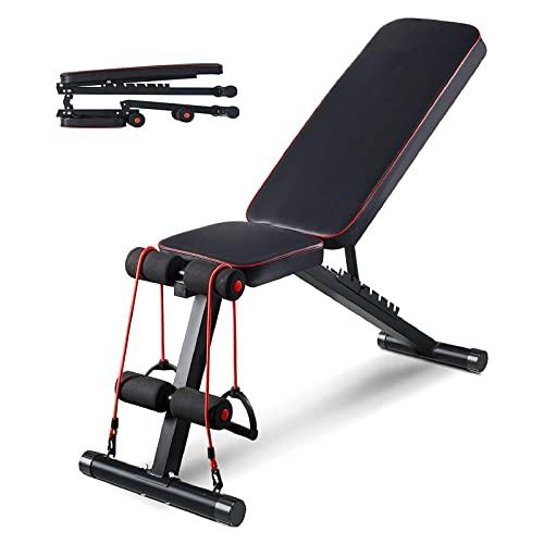 Aebow Schwarz Hantelbank, verstellbar, faltbar, Workout Hantelbänke, flache Neigung, für Hebeübungen, Ganzkörper-Krafttraining,