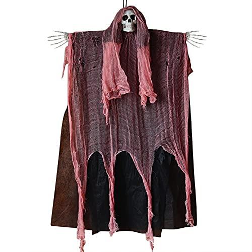 Horror Wreath for Front Door Halloween colgando fantasma decoración accesorios de horror cráneo brillante fantasma colgante colgante arreglo puerta cortina encantada casa decoración ( Color : Red )