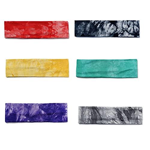 Paquete de 6 diademas elásticas para el sudor con teñido anudado para yoga, para mujeres, hombres, correr, deportes, envoltura de pelo (color A)