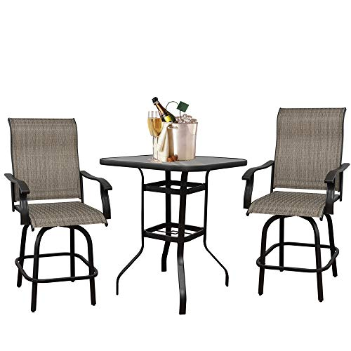 3PCS Outdoor Swivel Bar Stools, Patio Height Chairs Furniture Set, All Weather Garden Furniture Bar Chair, 360 Degree Swivel Patio Bar Chairs and Bar Table, Brown(2 Bar Stools&1 Table)