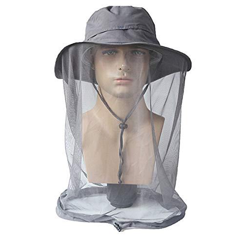 QCHOMEE Sombrero de Sol Unisex de 360 Grados, protección Solar contra Rayos UV, Visera con mosquitera antiinsectos y Mosquitos, para Acampada, Senderismo, Pesca, Escalada, Ciclismo, Moto, Gris Oscuro