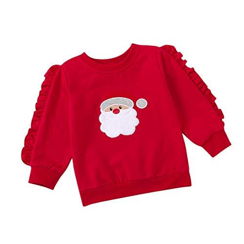 Pistazie - Sudadera de Navidad para bebé, unisex, de manga larga para bebé, con impresión de ciervo, cuello redondo, de punto cálido, con impresión de muñeco de nieve para niñas. rojo XL