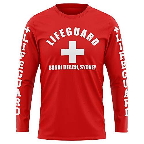 Lifeguard Bondi Beach Long Sleeve T-Shirt Rescue Tee Sport Urlaub Herren T-Shirts Gr. XL, rot