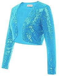 Light Blue Sequin Fabric Long Sleeve Cropped Blazer Bolero Shrug