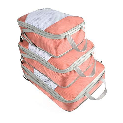 3Pcs/set Colorful Waterproof Travel Encampment Clothes Storage Bag Wardrobe Luggage Cube Container Organizer ShenZhenShiXiangXiDengShiZhaoMingYouXianGongSi (Color : Pink)